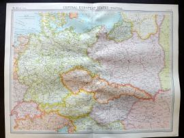 Bartholomew 1922 Large Map. Central European States, Political.